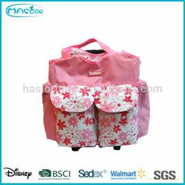 Rose mode 600D bébé mère sac avec système de chariot
