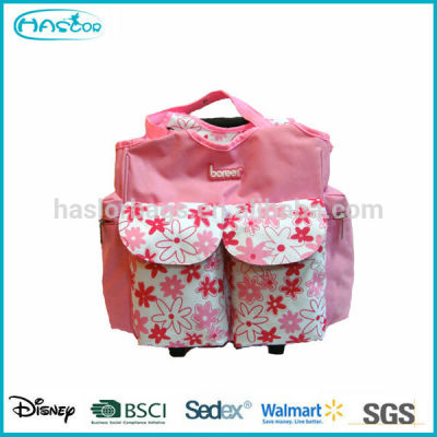 Pink 600D Fashion Baby Mother Bag with Trolley System