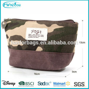 Nice camouflage pattern mini canvas cosmetic bag for girls