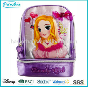 Fashion Polyester Insulated Cute Princess Kids Backpack Cooler Bag