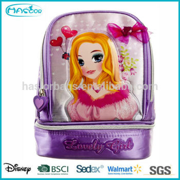 Mode Polyester isolé mignon princesse enfants sac à dos glacière sac