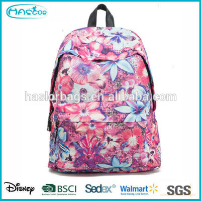 2015 Hot style flower pattern lady backpack for high school