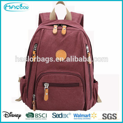 2015 new design colorful canvas backpack bags for high school girls