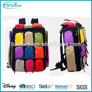 Matelassé sac à dos avec de nombreuses poches pour adolescent