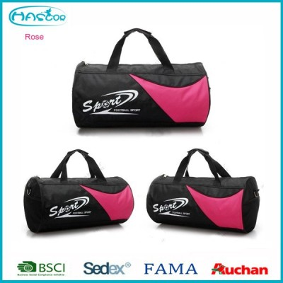 2016 Black polyester round sport bag with handles