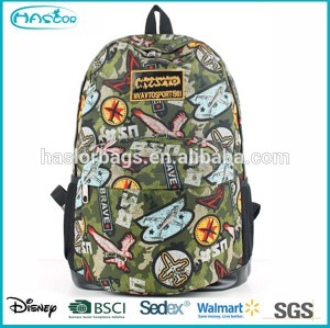 Hot sale cheap school bag printed fashion canvas backpack