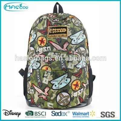 Hot sale cheap school bag printed fashion canvas backpack