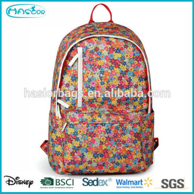 New design wholesale canvas pattern floral backpack for girls