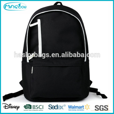 Custom wholesale durable canvas plain black backpacks for high school