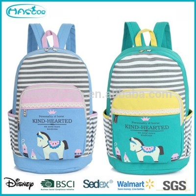 Korean Fashion Popular Canvas Girls School Bag, Horse School Backpack