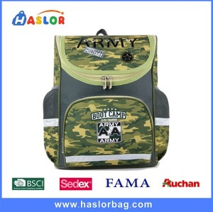 2017 Wholesale Boys Hi-Tec Camouflage School Backpack Army Green and Grey