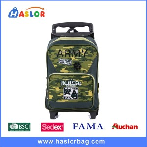 Kid School Backpack Boy Camouflage School Trolley Backpack