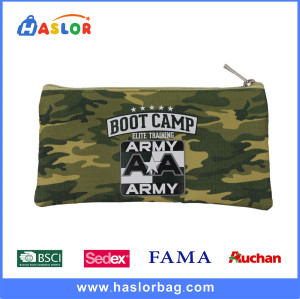 2017 Camouflage Flat Canvas Pencil Bag in Army Green