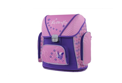 2017 Hot Sale Trendy Beautiful Butterfly Calico Pattern Ergo School Bag for Girls