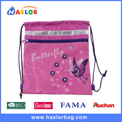 2017 New Design Fashion Pretty Butterfly Calico Pattern Drawstring Bags for Girls
