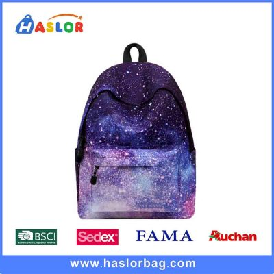 Fashion Fujian Factory Starry Sky Polyester Backpack School Bag Laptop Bag