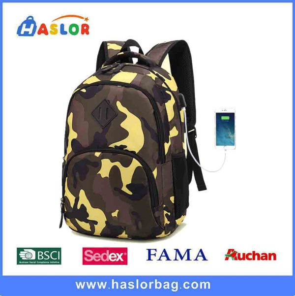 2018 fashion camouflage backpack  school bag with USB port
