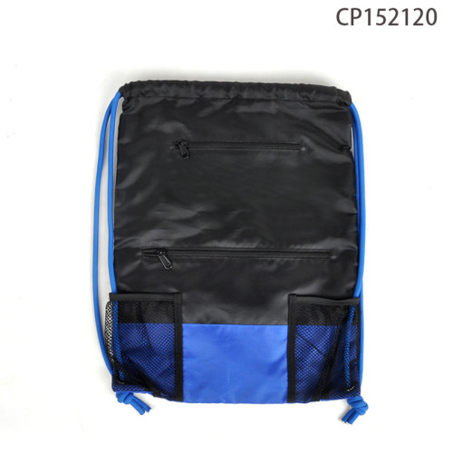 BACKPACK MESH POCKET NYLON POLYESTER WATERPROOF GYM SPORTS DRAWSTRING BAG