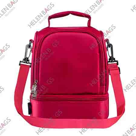 Custom Red Color Thermal Cool Big Lunch  Carry Cooler Bag