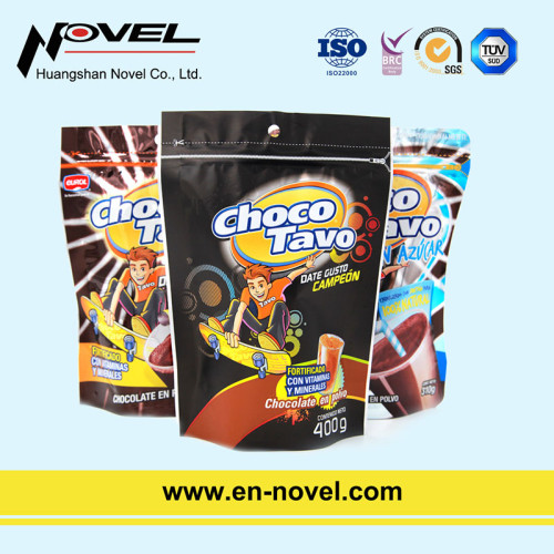 Stand Up Pouch with Zipper for Chocolate Powder Packaging