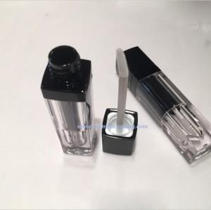 Black color Square shape Plastic Lip gloss tube empty lip gloss containe for cosmetics