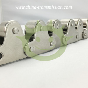 Stainless steel conveyor chains with top rollers