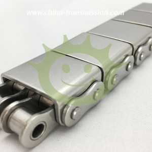 Stainless steel conveyor chains with rubber blocks