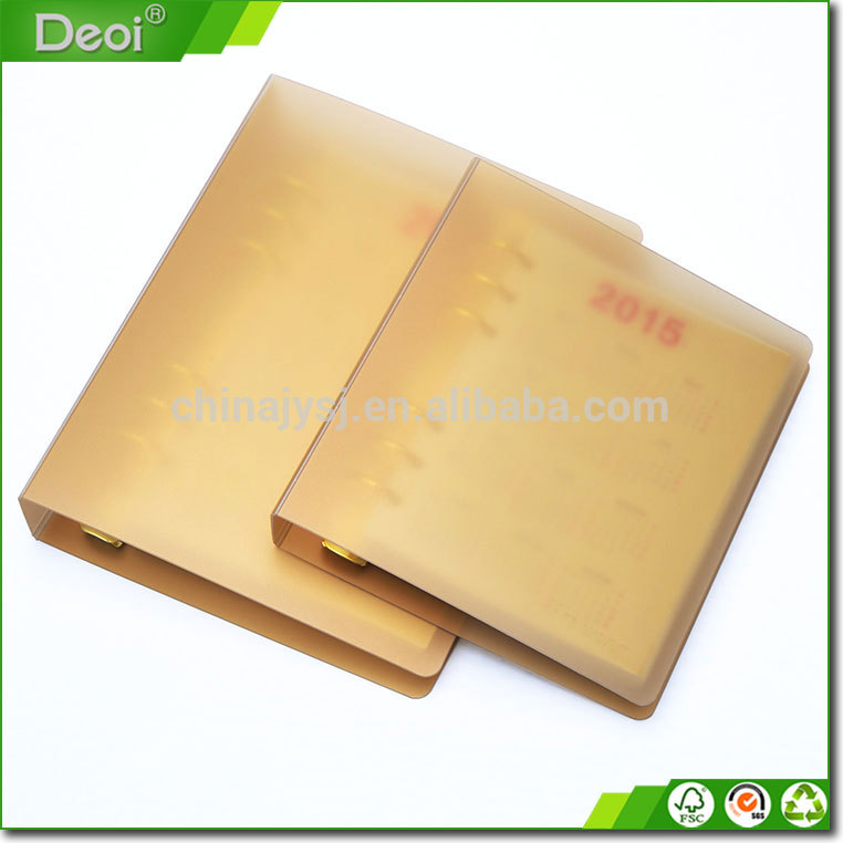 New style paper notebook luxury gold PP plastic cover A4 A5 size notebook custom school notebook wit