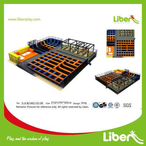 ASTM standarded commercial indoor large trampoline park with ninja courses