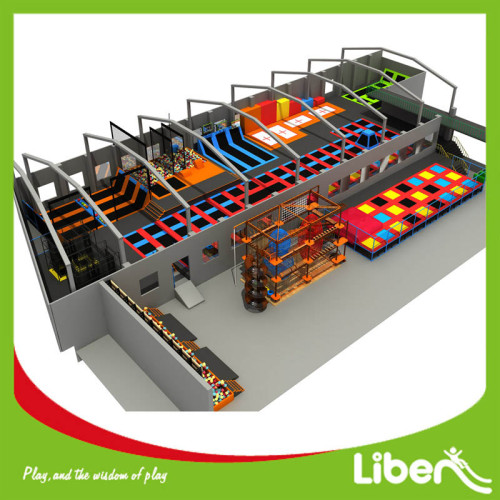 Extreme Indoor Commercial Used Trampoline Park with Rope Course