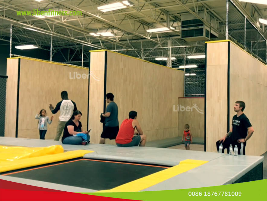 USA trampoline park project with ninja course