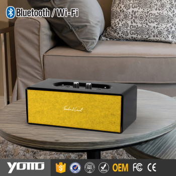 Yommo Bass Speaker Smart High Power Bluetooth Home Audio System-Black cabinet with yellow fleece