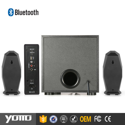 YOMMO new products 2017 2.1 bass bluetooth game wooden speaker with 30w