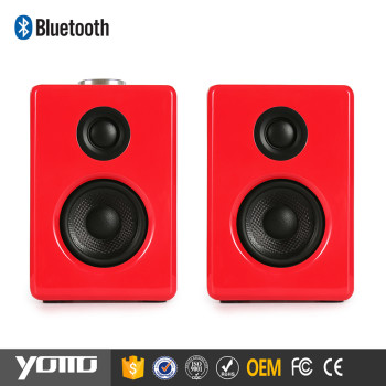 YOMMO 2017 Newest Wooden Multimedia 2.0 Bookshelf speaker for computer bluetooth wireless speaker