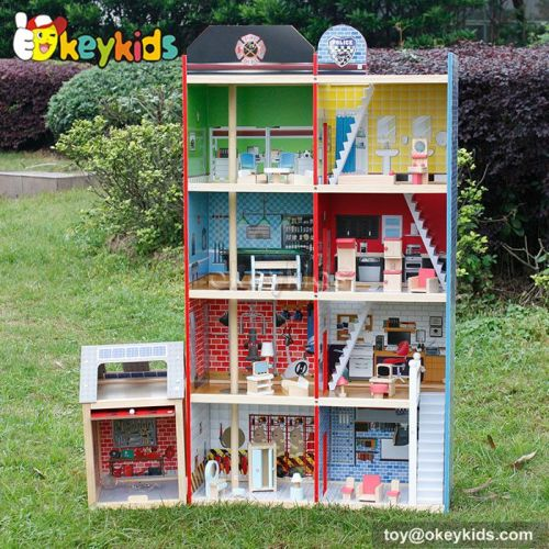 Perfect kids diy toy wooden big doll house W06A138