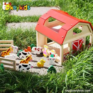 Funny kids small wooden farm animal toy set W06A156