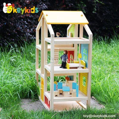 Okeykids Happy family kids diy toy wooden 3d doll house W06A155