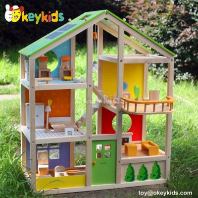 Luxurious kids diy toy wooden modern doll house W06A158