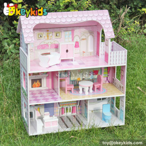 Sweet House kids diy toy wooden miniature doll house W06A139