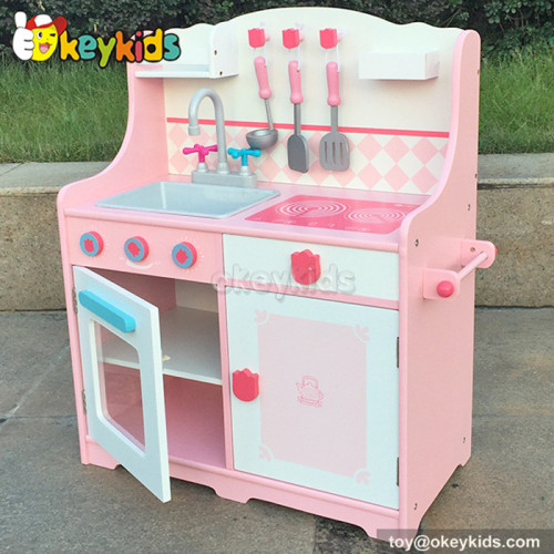 Simulation pink wooden kitchen play set toy for kids W10C174