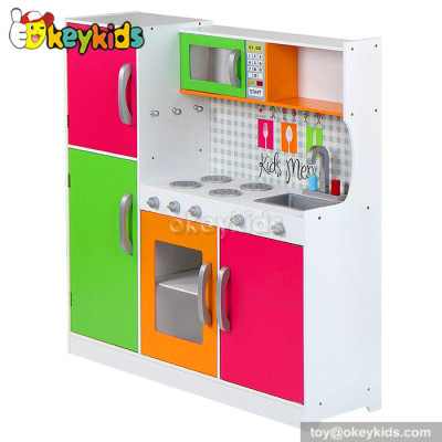 Colorful and big kids wooden play kitchen set toy W10C204