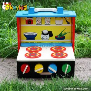 Portable children toy wooden cooktop set W10D124