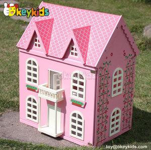 DIY multi-level wooden dollhouse for children W06A104