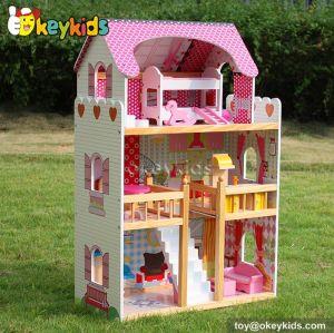 Okeykids Fashion children diy wooden dollhouse with furniture W06A163