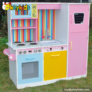 Multi-function and colorful children wooden kitchen set with refrigerator W10C166