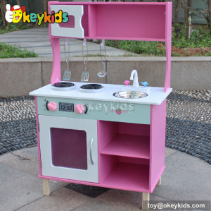 Lovely pink children wooden kitchen play set toy W10C168