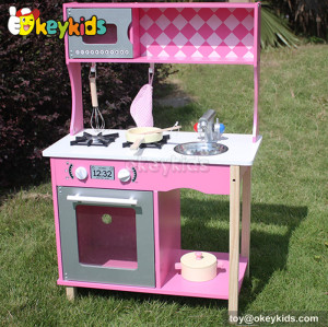 Lovely pink kids wooden kitchen set toy W10C161