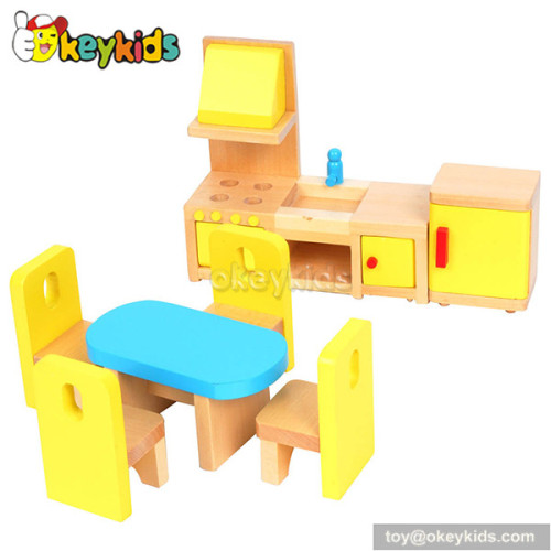 Fashionable children diy wooden toy dollhouse with furniture W06A096