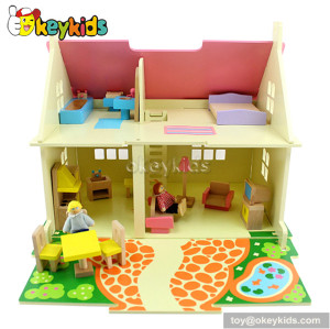 Mini wooden toy dollhouse for little girls W06A097
