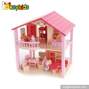 Romantic toy wooden doll house for kids W06A027